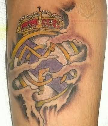 Ripped Skin Ultimate Real Madrid Logo Tattoo Design