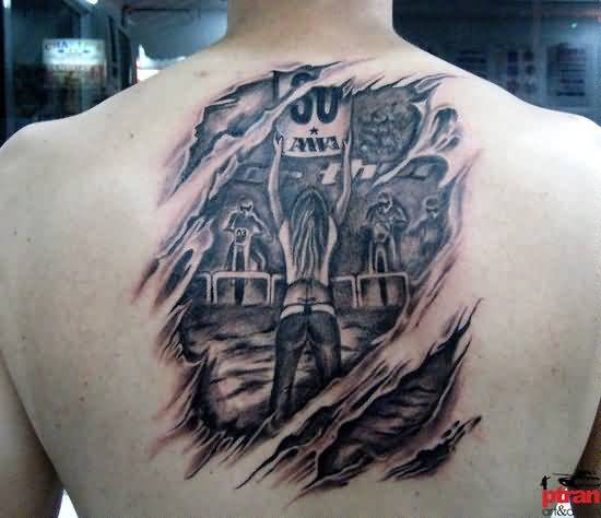 Ripped Skin Upper Back Amazing Filipino Tattoo