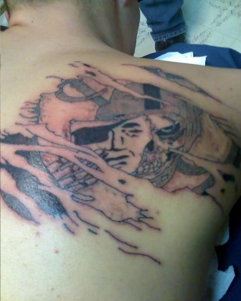 Ripped Upper Back Skin Amazing Oakland Raiders Tattoo