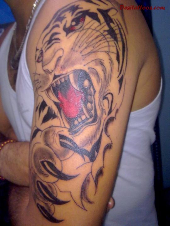 Roaring Lion Punjabi Tattoo On Shoulder