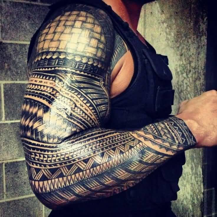 Roman Show Her Full Sleeve Amazing Tribal Polynesian Tattoo