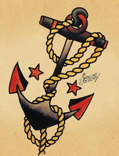 Rope Nice Old School Anchor Tattoo Design