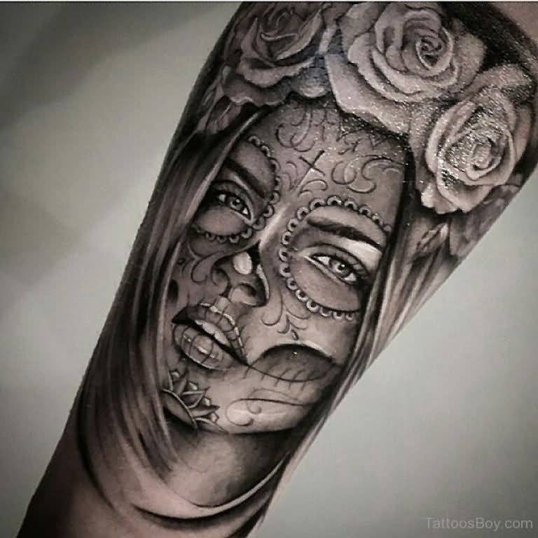 Rose Awesome Flower Wonderful And Nice Latino Girl Face Tattoo