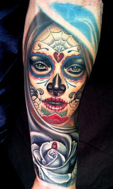 Rose Flower With Nice And Amazing Catrina Tattoo On Forearm Sleeve