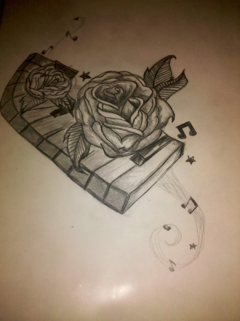 Rose With Amazing Piano Keys Tattoo Stencil