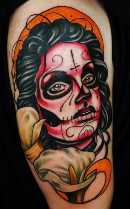 Sad Catrina Face Tattoo Design For Sleeve