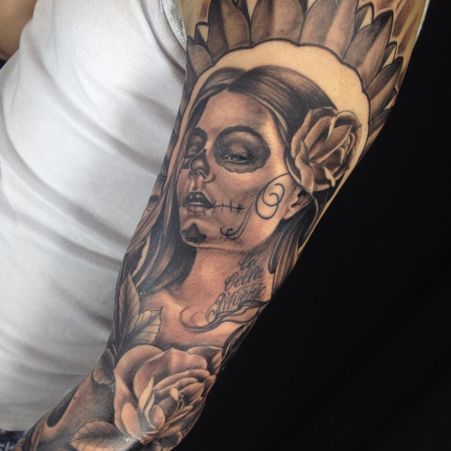 Sad Catrina Girl With Full Sleeve Rose Flower Tattoo
