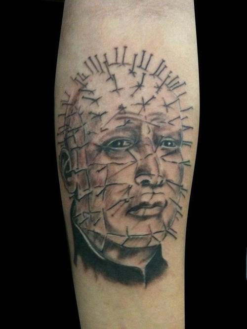 Sad Pinhead Tattoo Design Make On Forearm Sleeve