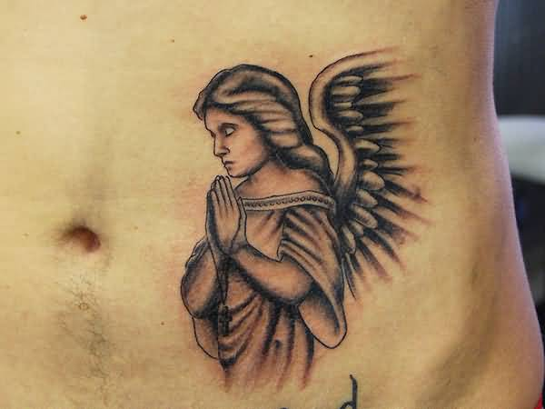 Sad Praying Angel Tattoo Design Idea On Hip
