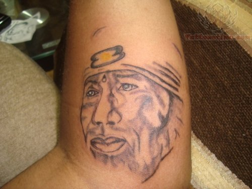Sai Baba Face Religious God Tattoo