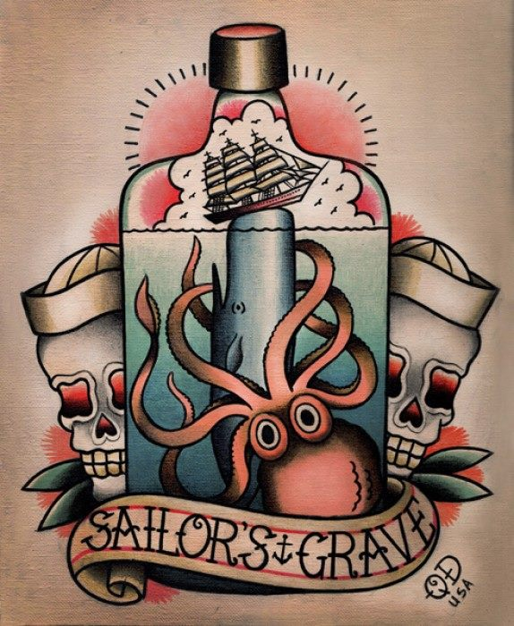 Sailor Grave Banner Octopus Ship And Old School Skulls Tattoo Stencil