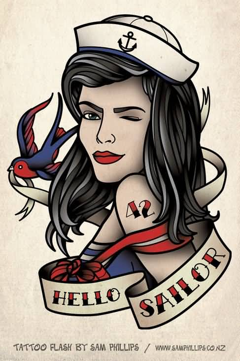 Sailor Pin Up Girl Face Design With Banner Tattoo