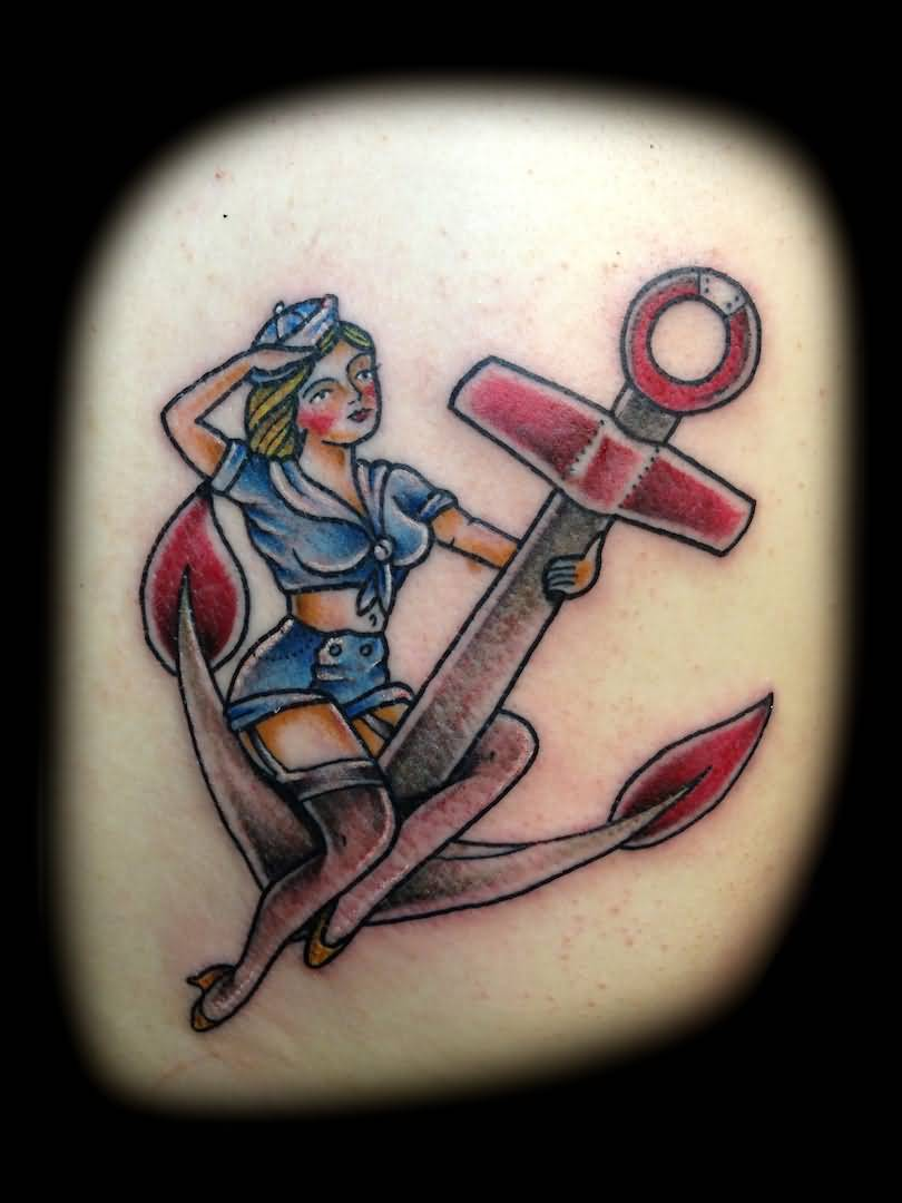 Sailor Pin Up Girl Sit On Anchor Tattoo