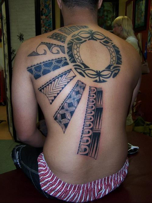 Samoan Sun Back Tattoo