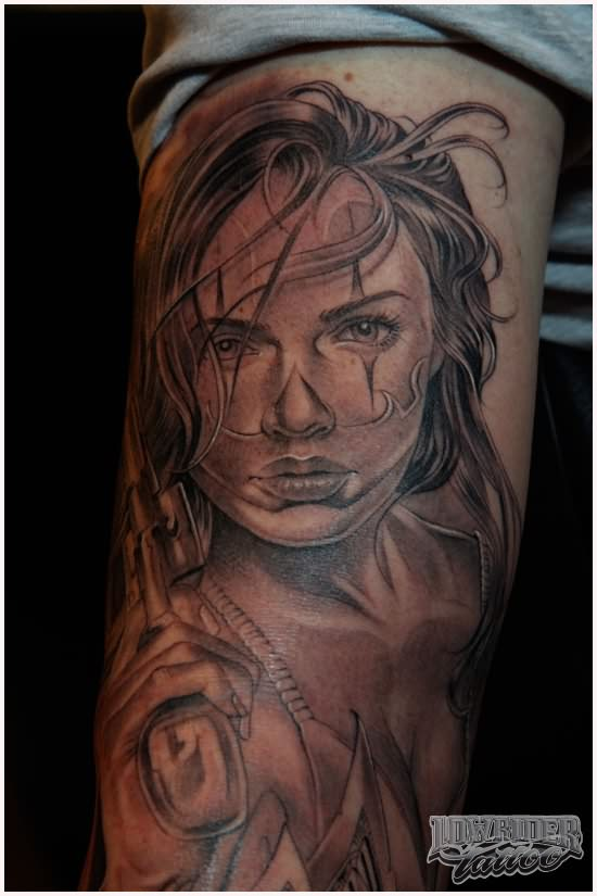 Scary And Amazing Latino Girl Face Tattoo Design Idea