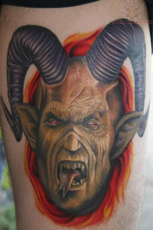 Scary And Dangerous Satan Show Tongue Tattoo