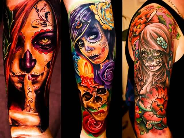 Scary Catrina Girl Tattoo Of Faces And Nice Fl;owers