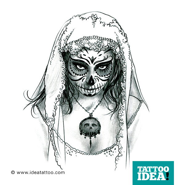 Scary Catrina Tattoo Made By Black And White Ink