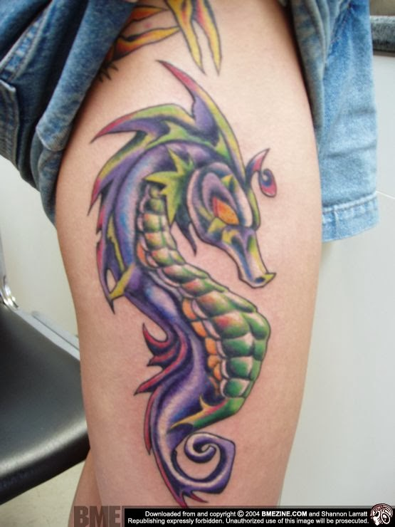 Scary Devil Sea Creature Seahorse Tattoo