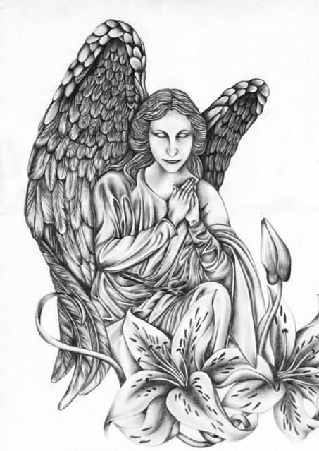 Scary Eyes Close Hands Praying Angel Tattoo Design With Lovely Flower