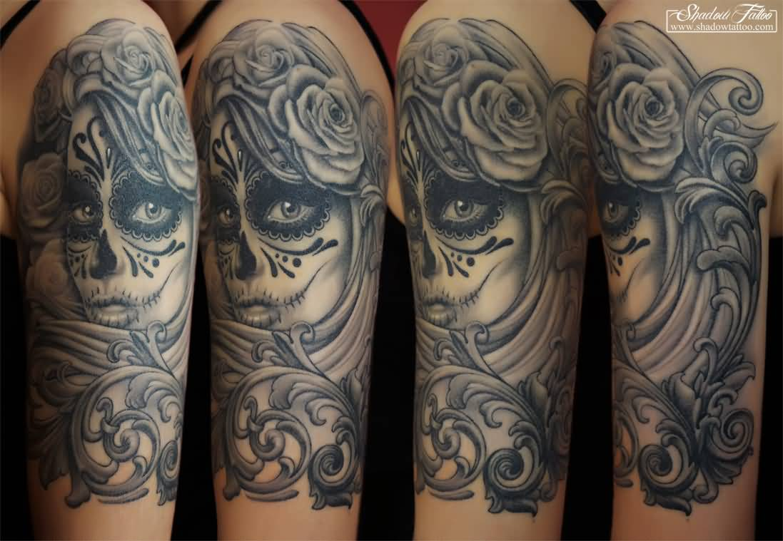 Scary Eyes Day Of The Dead Latino Catrina Tattoo
