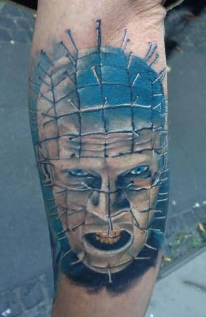 Scary Face Of Nice Pinhead Tattoo