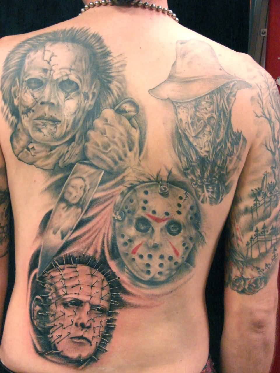Scary Faces With Pinhead Tattoo On Men Full Back