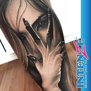 Scary Girl 3D Face Lower Arm Tattoo Design By Levi Barnett