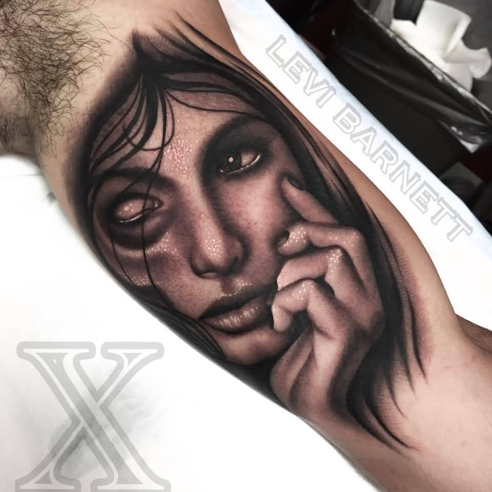 Scary Girl Face Tattoo Made By Levi Barnett On Arm