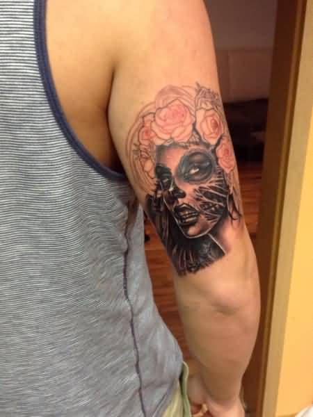 Scary Horror Catrina Girl Face With Rose Flowers Tattoo