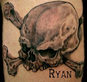 Scary Jolly Roger Tattoo Of Skull