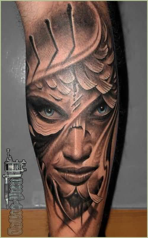Scary Latino Girl Mask Tattoo Design Idea Make On Leg