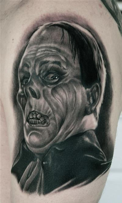Scary Latino Men Face Tattoo Design Idea Make On Men Shoulder