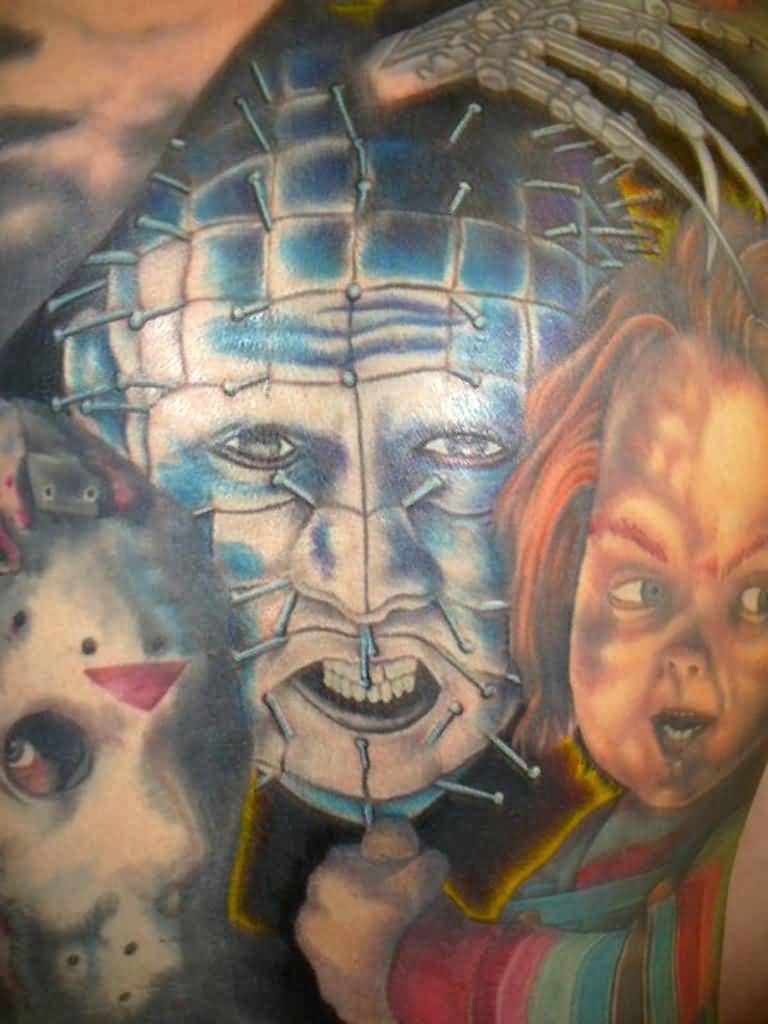 Scary Men And Girl Faces Pinhead Tattoo