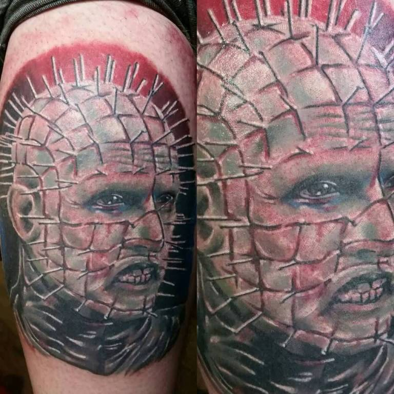 Scary Pinhead Face Tattoo Design Idea