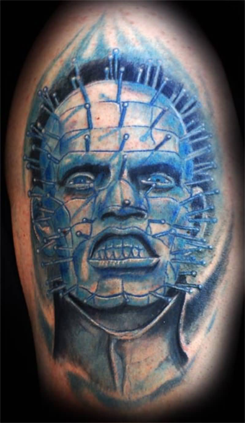 Scary Pinhead Style Spooky Men Face Tattoo