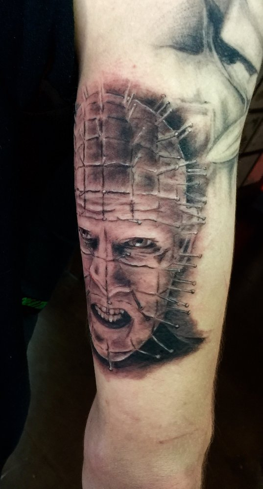 Scary Pinhead Tattoo Design Make On Men Bicep