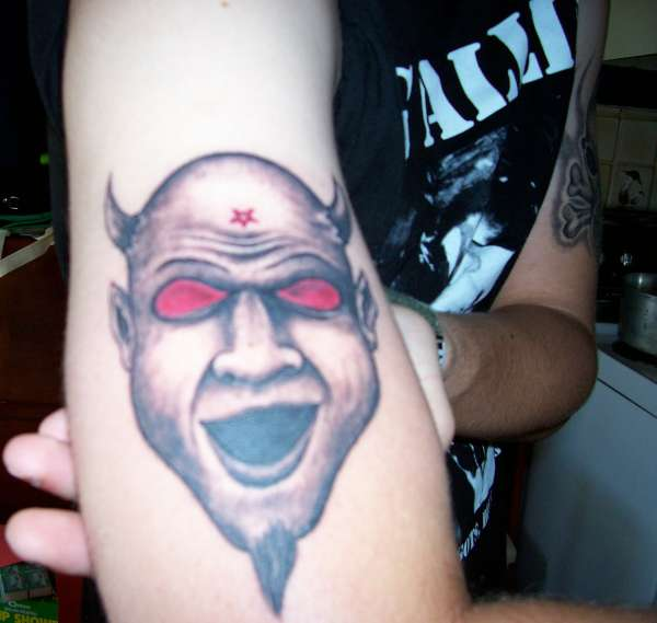 Scary Red Eyes Funny Satan Face Tattoo Make On Bicep