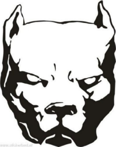 Scary Stencil Of Awesome Pitbull Face Tattoo
