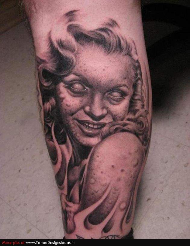 Scary Vampire Marilyn Monroe Girl Face Tattoo Design Idea