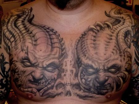 Scary and Dangerous Satan Face Tattoo Design Idea On Men Chest