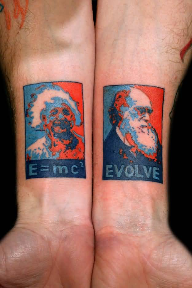 Science Famous Einstein And Darwin Face Tattoo On Both Wrist