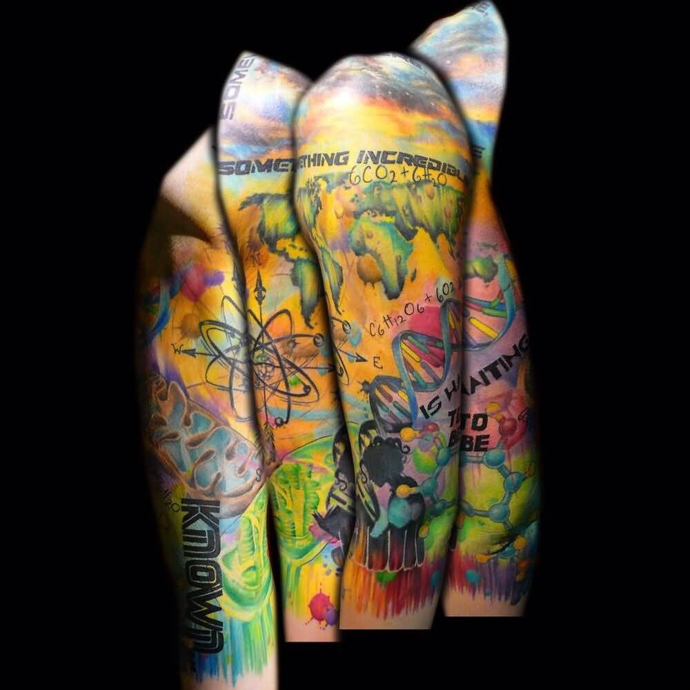 Science Full Sleeve DNA Colorful Nice ATOM Tattoo
