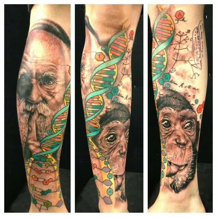 Science Scientist Charles Darwin Face With Monkey And Biology DNA Tattoo