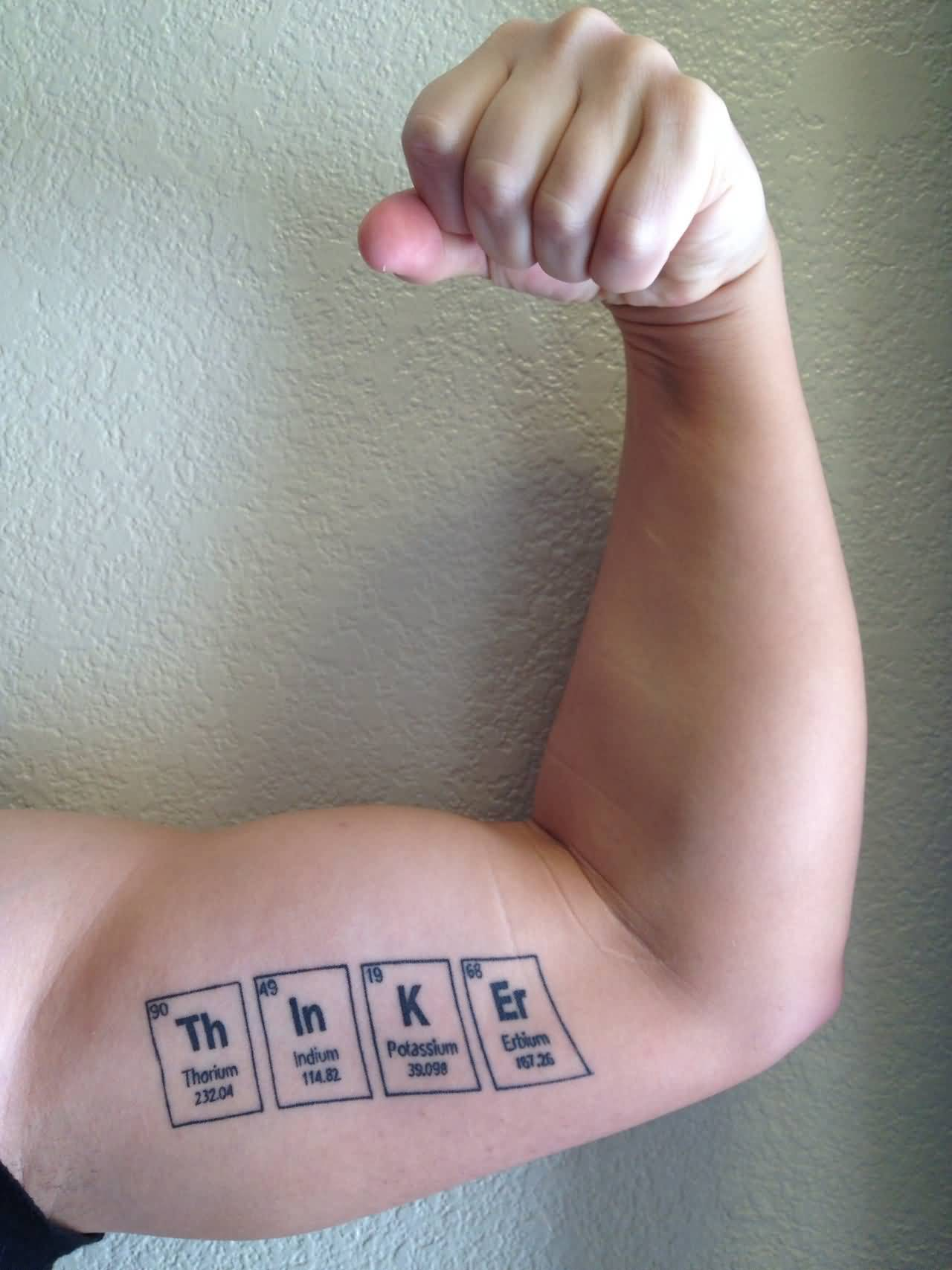 Science Tattoo On Men Bicep