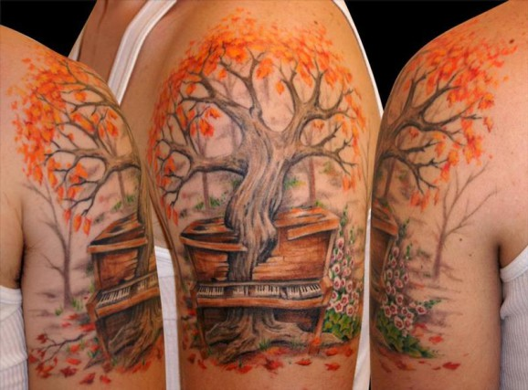 Science Tree With Grand Piano Tattoo On Half Sleeve