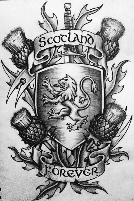 Scotland Forever Banner Tattoo Design Stencil