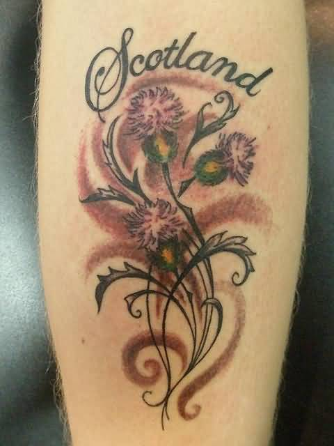 Scotland Letter With Scottish Thistle Tattoo