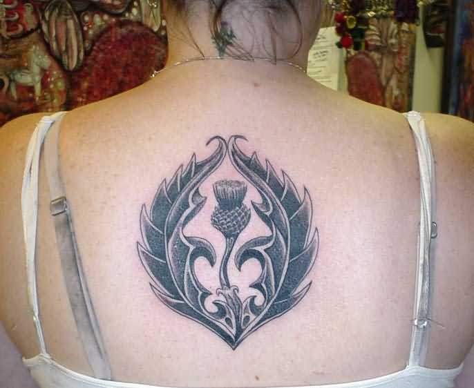 Scottish National Flower Tattoo On Girl Upper Back