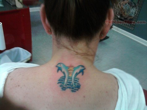 Sea Creature Dolphin Jump From Water Tattoo On Nape